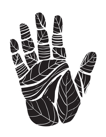Human Palm with Leaves Ecology Illustration Vector