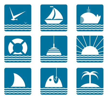 beach buoy: Nautical and Sea Icons Set  Marine icons collection   Illustration