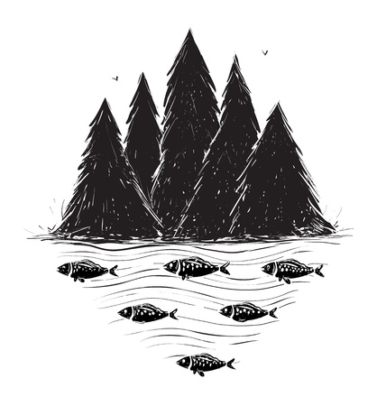 River Bank with Forest and Fish  Layered vector Vector