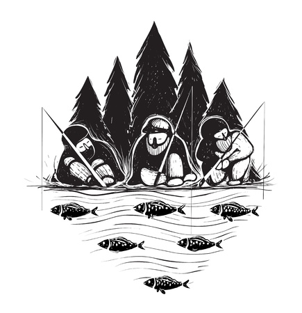 Three Fisherman Sitting on River Bank with Rods  Layered vector  Vector