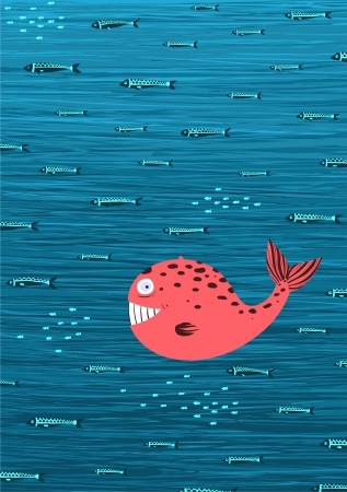 Ballena rosada y Pesca submarina Cartoon Vector Background