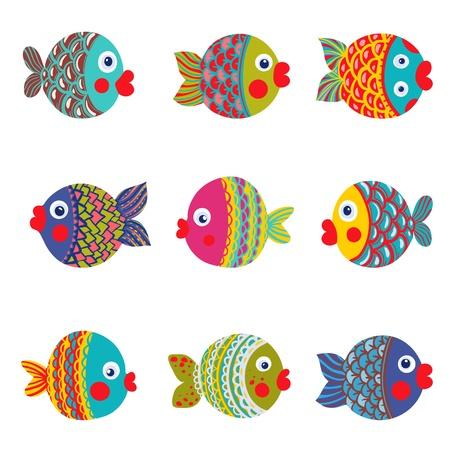divertido: Colección de los pescados coloridos gráfico de la historieta conjunto Ilustración Infantil
