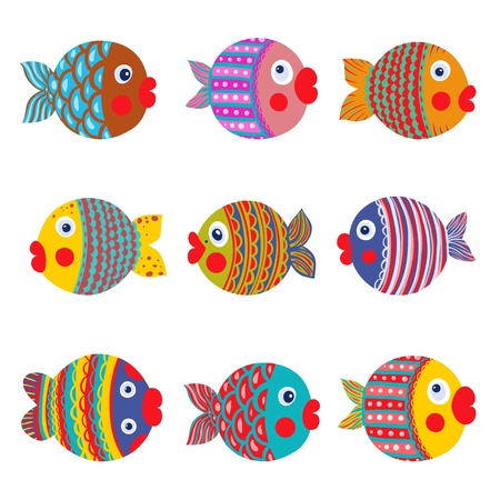 zeichnung: Fisch-Sammlung Bunte Cartoon Graphic Childish Abbildung Set Illustration