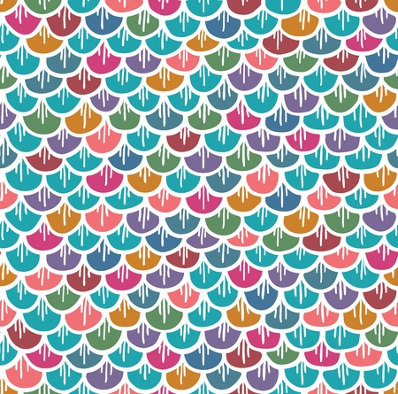 fish scales: Fish Scales Seamless Pattern Colorful Cartoon  Vector illustration