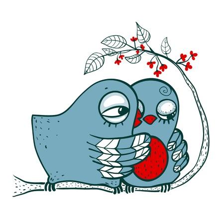 couple in love: Birds in Love  Childish romantic blue birdies hugging  Vector EPS8