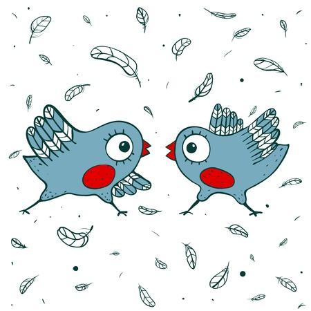 dispute: Birds Quarrel  Childish blue birdies and feathers  Vector EPS8