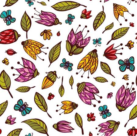 꽃 장식 원활한 패턴 꽃 배경 그림 벡터 EPS8