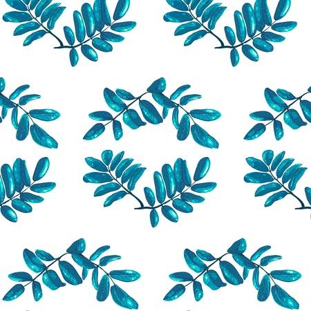 rhombic: Rhombic Blue Leaves Seamless