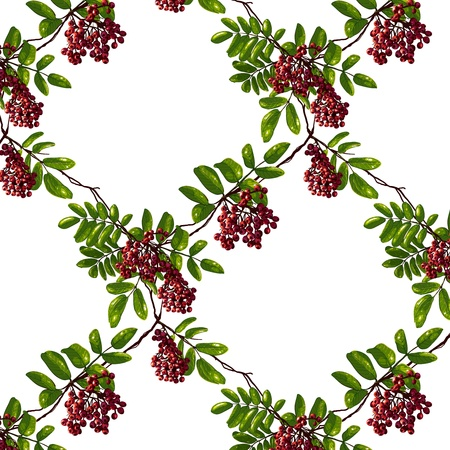 ashberry: Ashberry Rhombic Branch Seamless Pattern with Berries and Leaves