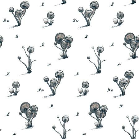 cramped: Poisonous Toadstool Mushrooms Seamless Pattern  Vector illustration  Fungus growing pattern