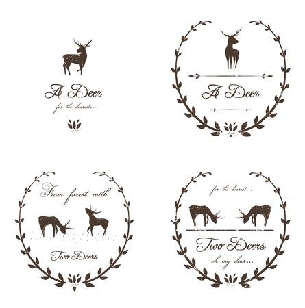 Vintage collectie Labels met herten Vector dier stempels Gratis lettertype gebruikt- Freebooter Script