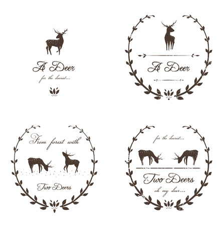 animal breeding: Vintage Labels Collection with Deers  Vector animal stamps  Free font used- Freebooter Script  Illustration