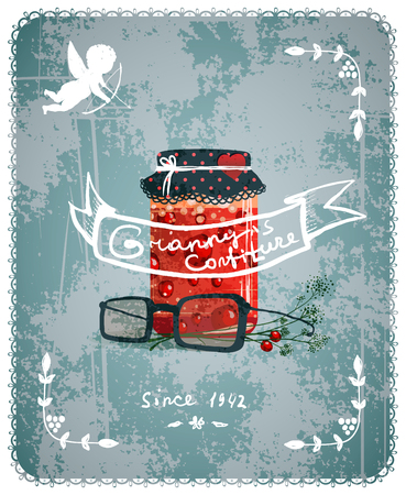 confiture: Granny Confiture Vintage Poster Concept  Vector layered food illustration  Old-style transparent texture  Illustration