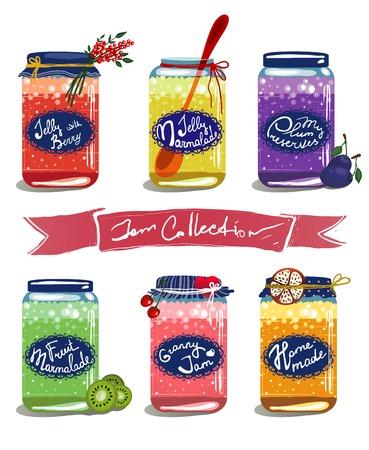 明るい缶詰甘いフルーツ ジャム コレクション ベクトル層食品イラスト フルーツおよび果実のコンフィチュール セット