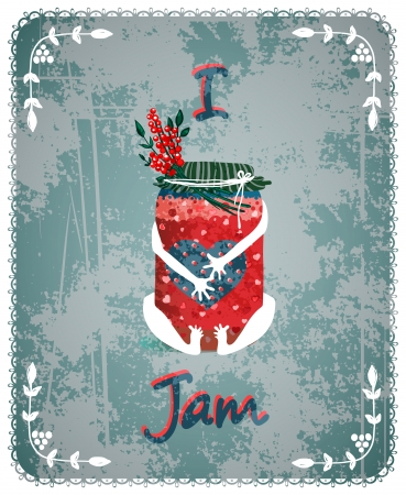 I Love Jam Vintage Advertisement Poster Concept  Vector layered food illustration  Old-style transparent texture Stock Vector - 22735312