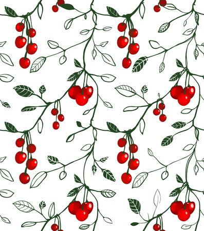 Cherry Berry Seamless Pattern Illustration  Vector berry pattern Stock Vector - 22735368