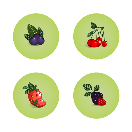 bilberry: Blackberry Cherry Strawberry Bilberry Icons  Vector layered berry illustration  Still life icons set