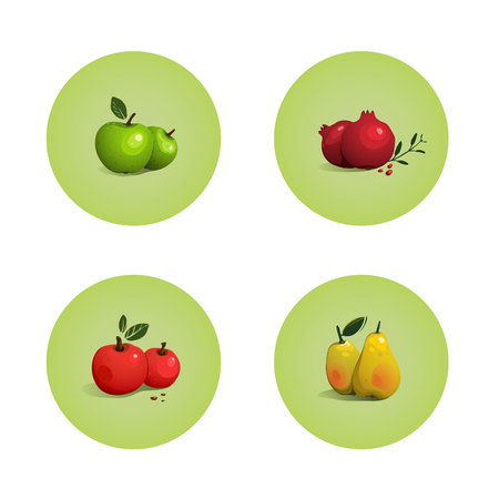 Green and Red Apple Pomegranate Pear Fruits Set  Vector layered fruit illustration  Still life icons set Stock Vector - 22735370