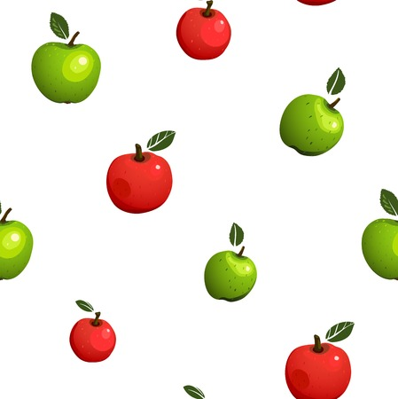 Green and Red Apple Seamless Pattern Illustration  Vector fruit pattern
