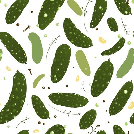Green Canned Spicy Cucumber Seamless Pattern  Vector EPS8 canned cucumber pattern