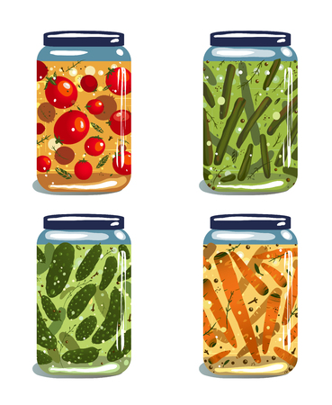 pickled: Bright Canned Pickled Vegetables Collection  Vector EPS8 layered food illustration  Vegetables preserves set