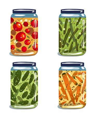 preserves: Bright Conservas Encurtidos Verduras Colecci�n del vector EPS8 ilustraci�n en capas alimentos vegetales Conservas de establecer