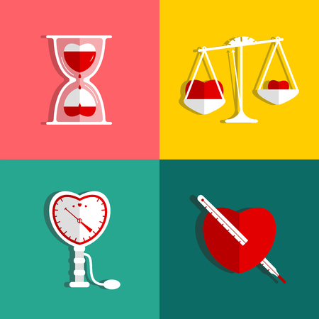 Love Measure and Medicine Heart Checkup Set  Heart and love symbols collection  Vector illustration  Vector