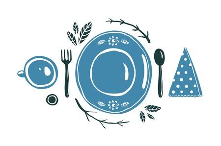 접시 숟가락 포크와 컵과 설정의 디자인을 배치