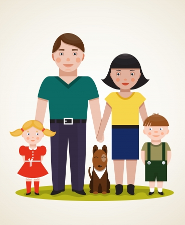 Happy Family Parents with Two Children and Dog  Father, mother, son, daughter  Vector