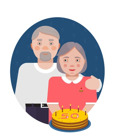 Grandparents Golden Anniversary Portrait  Old people  Vector