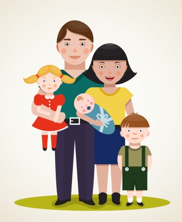 Happy Family Parents with Three Children  Father, mother, son, daughter and an infant   Vector