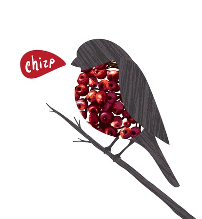 Bullfinch Sitting on Ashberry Twig Saying Chirp  Bird illustration with berries  Vector EPS8 drawing  Vector