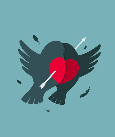 Bullfinch Birds Heart Love Couple with Arrow  Birds couple in love illustration Vector
