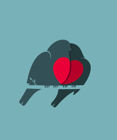 Bullfinch Birds Heart Love Couple Sitting on Twig  Birds couple in love illustration  Vector