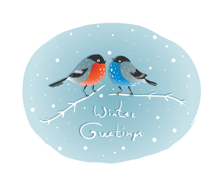 Christmas Bullfinch Birds in Love Sitting on Twig  Birds couple in love illustration  Vector