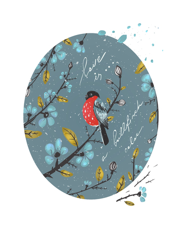 bullfinch: Winter Flowers and Bullfinch Drawing  Flowers arrangement for decoration  Illustration