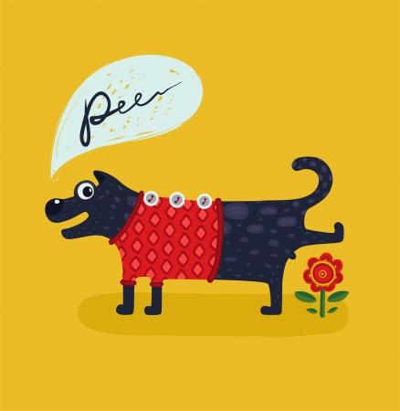piss: Cute Male Cane Pissing Illustrazione degli animali facendo pip� disegno divertente fumetto illustrazione vettoriale EPS8