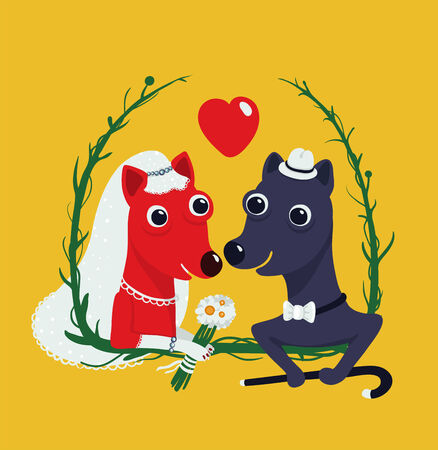 Dogs Bride and Groom Funny Portrait Illustration  Animal wedding bridal drawing  Vector illustration EPS8  Vector
