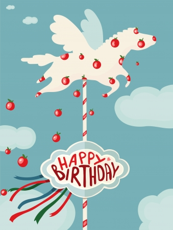 Carousel Horse and Apples Happy Birthday Card  Birhday merry go round horse  Vector drawing EPS8  Vector