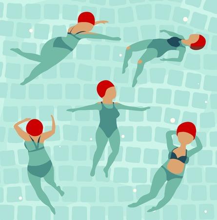 Swimming Women in Pool  Illustration