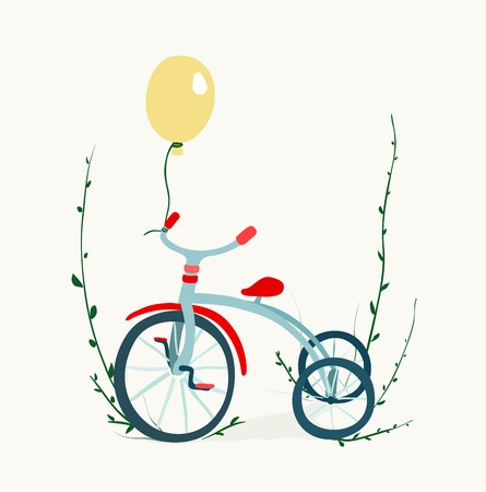 Childish tricycle illustration with balloon