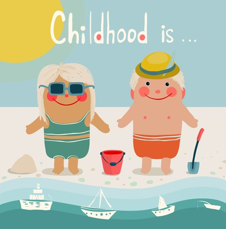 Summer Beach Children Friends Sunbathing