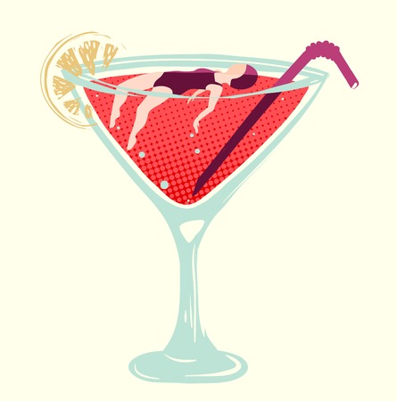 bocal: woman swimming in the cocktail Illustration