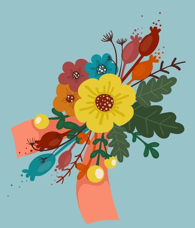 blue berry: Bright Flowers Bouquet with Ribbon A bunch of vivid flowers and berries with ribbon  Vector illustration EPS8