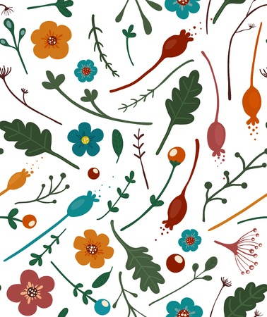 Flowers Leaves and Berries Seamless Pattern Summer floral pattern  Vector illustration EPS8  Vector