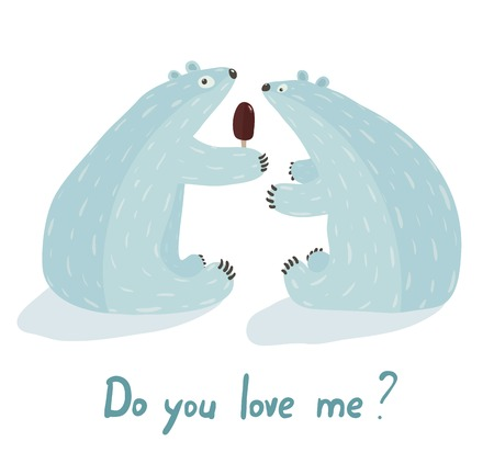 Polar Bears Love and Ice Cream  White bear presents ice cream  Vector illustration EPS8  Vector