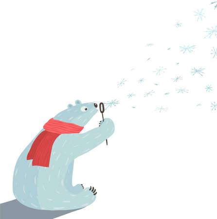 oso blanco: Oso polar sopla copos de nieve Oso blanco en la bufanda roja que se sienta ilustración vectorial EPS8