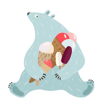 oso blanco: Oso polar y helado Oso blanco sostiene ilustración helados Vector EPS8