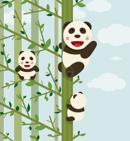 Kawaii Bears in Forest  Funny kawaii panda bears in trees  Vector illustration EPS8  Vector