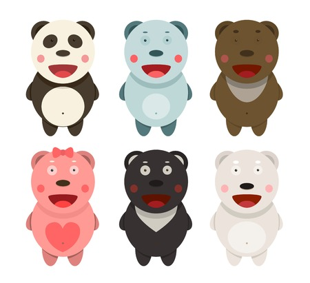 Kawaii Bears Collection  Funny kawaii different bears set  Vector illustration  Vector